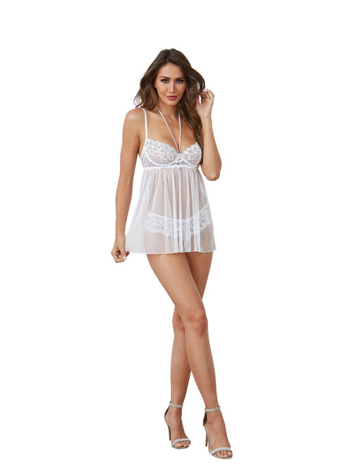 Dreamgirl Pearl Babydoll and G-String Set image number 0.0