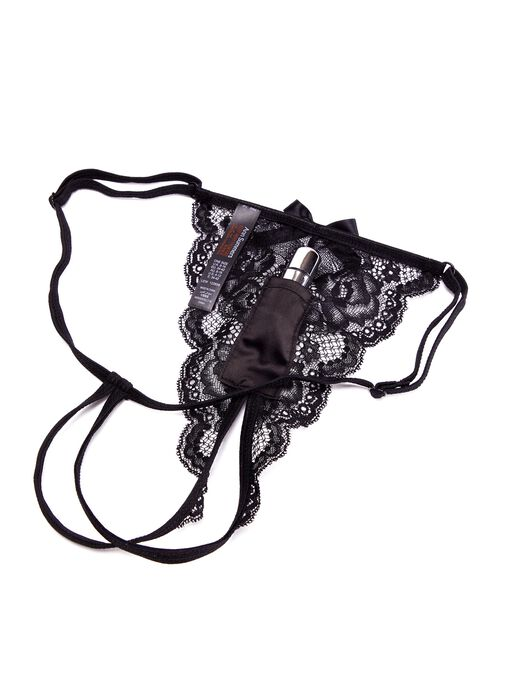 Vibrating Black Crotchless Knickers image number 1.0