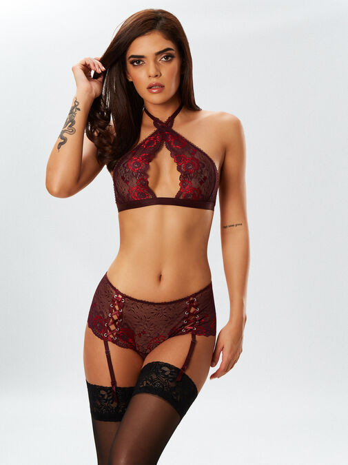 The Fierce Erotic Bra and Crotchless Brief Suspender Set image number 0.0