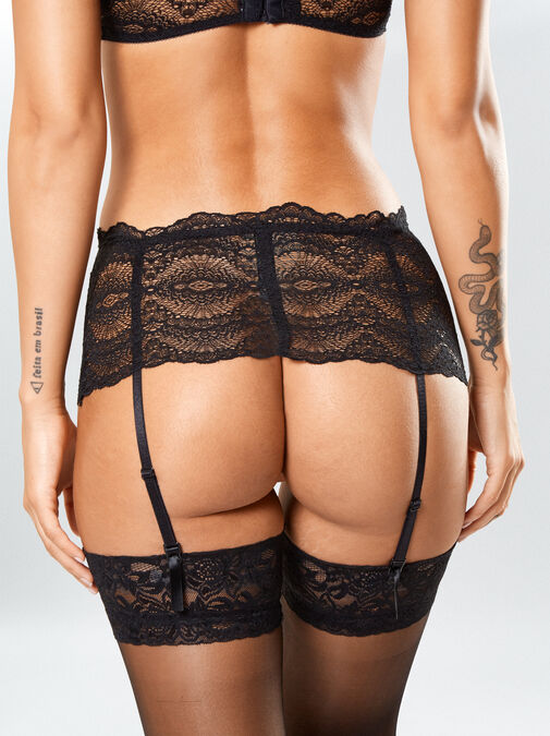 Kora Lace Bra and Crotchless Thong Set image number 4.0
