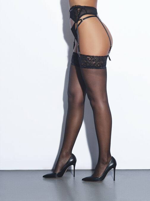 Lace Top Glossy Stockings image number 1.0