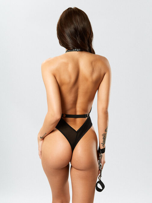 Dreamgirl Mesh Halter Body With Cuffs image number 1.0
