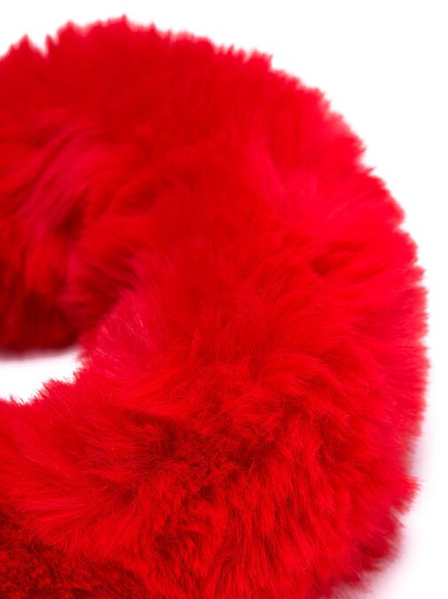 Plush Red Faux Fur Cuffs image number 1.0