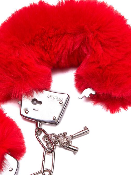 Plush Red Faux Fur Cuffs image number 2.0