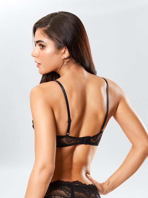 Kora Lace Bra and Crotchless Thong Set image number 3.0