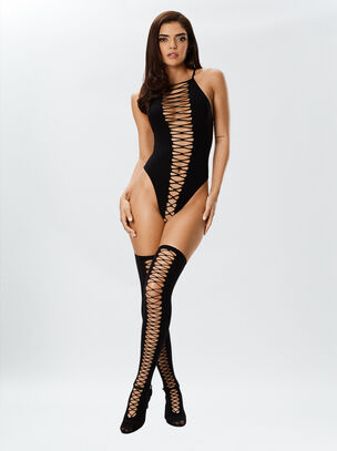 Dreamgirl Lace Up Body & Stockings Black