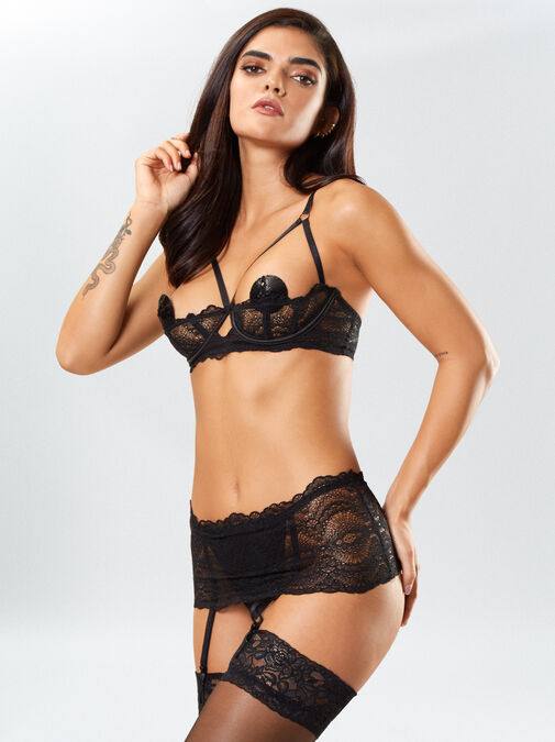 Kora Lace Bra and Crotchless Thong Set image number 0.0