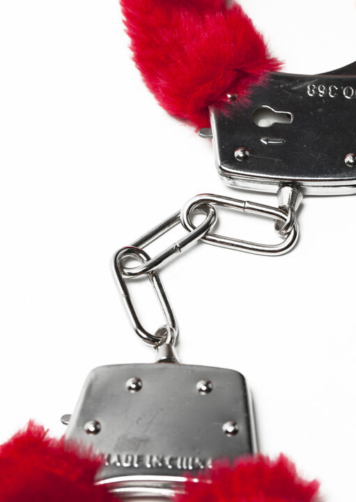 Red Faux Fur Handcuffs image number 1.0