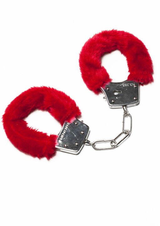 Red Faux Fur Handcuffs image number 0.0