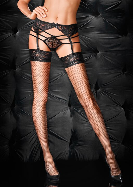 Fishnet Stocking & Suspender Set image number 1.0