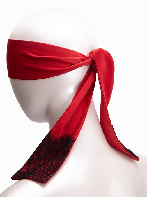 Satin And Lace Blindfold Red and Black image number 1.0