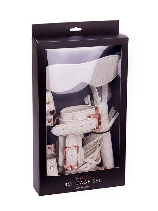 White Faux Leather Bondage Set image number 7.0