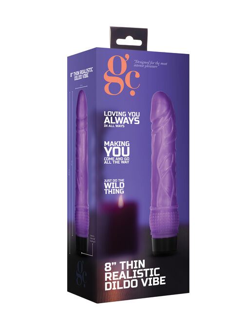 "8"" Thin Realistic Purple Dildo Vibrator image number 2.0"