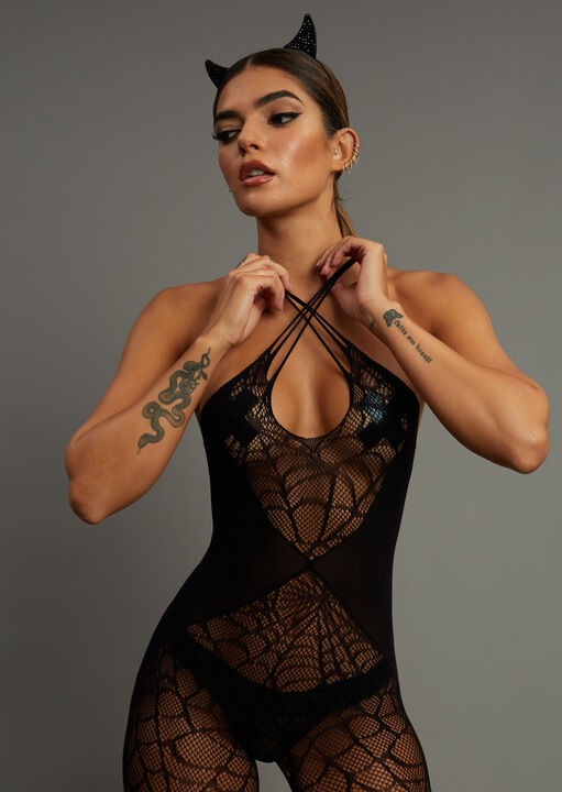Black Widow Crotchless Bodystocking image number 2.0