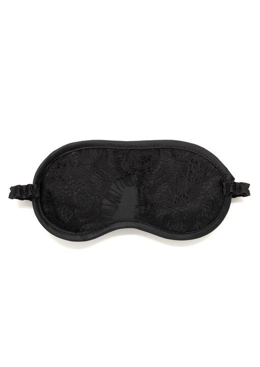 Satin & Lace Eyemask Blindfold Black image number 0.0