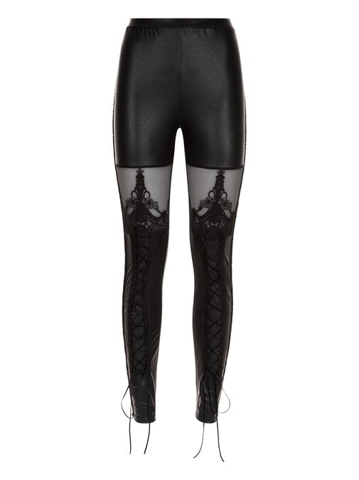 PU Lace Up Leggings image number 2.0