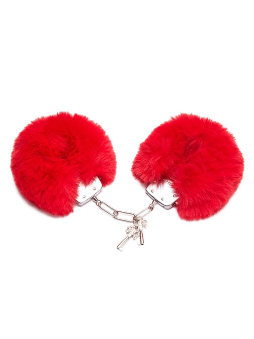 Plush Red Faux Fur Cuffs image number 0.0
