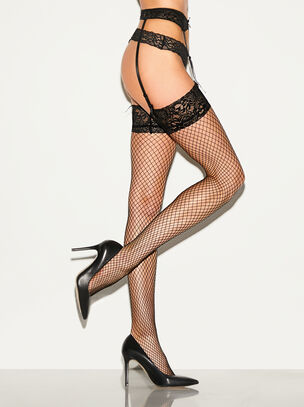 Fishnet Stocking & Suspender Set