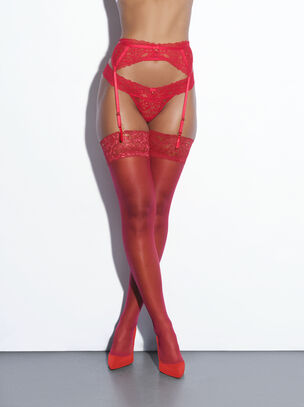 Lace Top Glossy Stockings