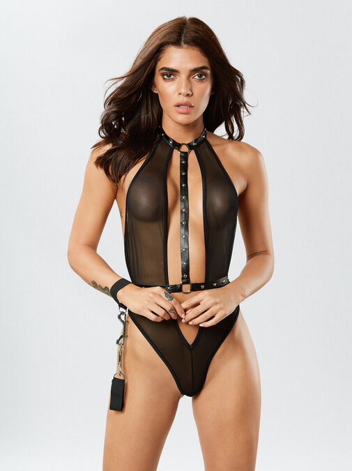 Dreamgirl Mesh Halter Body With Cuffs image number 0.0