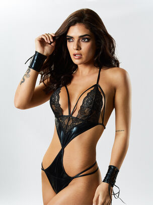 PU Brielle Crotchless Body with Cuffs