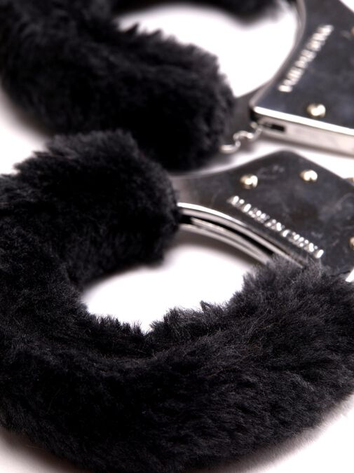 Black Faux Fur Handcuffs image number 2.0