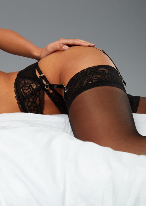 Lace Top Glossy Stockings image number 4.0