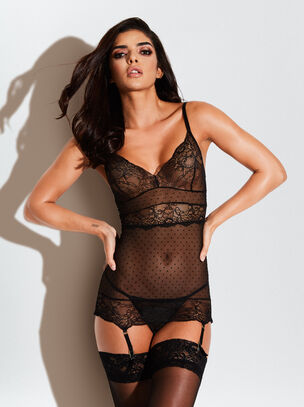 The Scandalous Chemise Crotchless Set