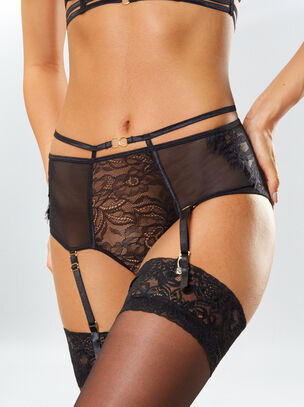 Bonnie Crotchless High Waisted Suspender Brief