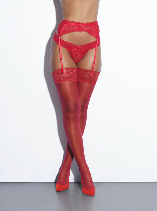 Lace Top Glossy Stockings image number 2.0