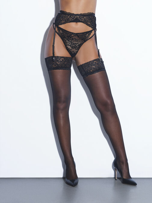 Lace Top Glossy Stockings image number 0.0