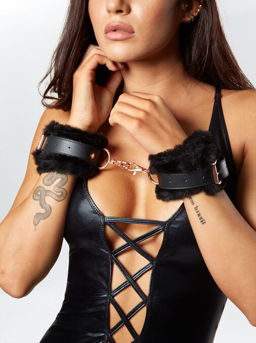 Aphrodisiac Faux Fur Buckle Cuffs image number 3.0