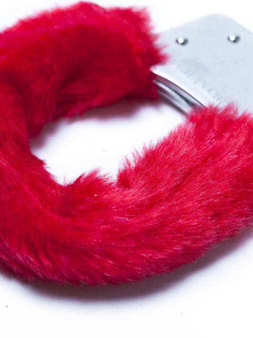 Red Faux Fur Handcuffs image number 2.0