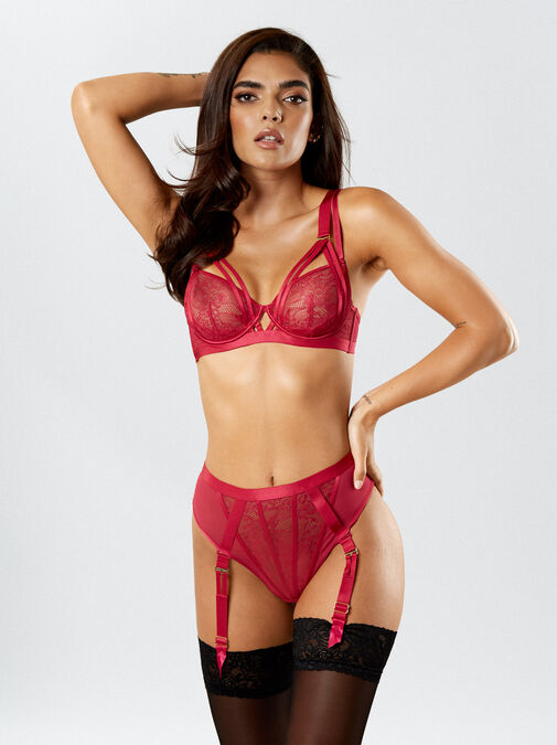 The Lace Fantasy High Waisted Suspender Thong image number 3.0