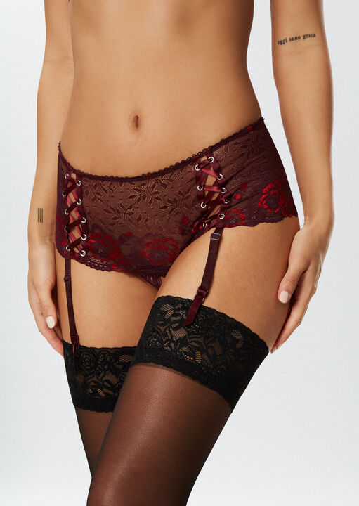The Fierce Erotic Bra and Crotchless Brief Suspender Set image number 2.0
