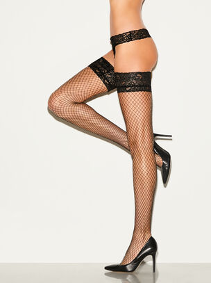 Lace Top Fishnet Hold Up
