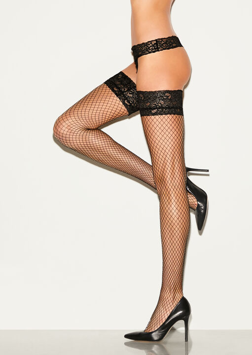 Lace Top Fishnet Hold Up image number 0.0