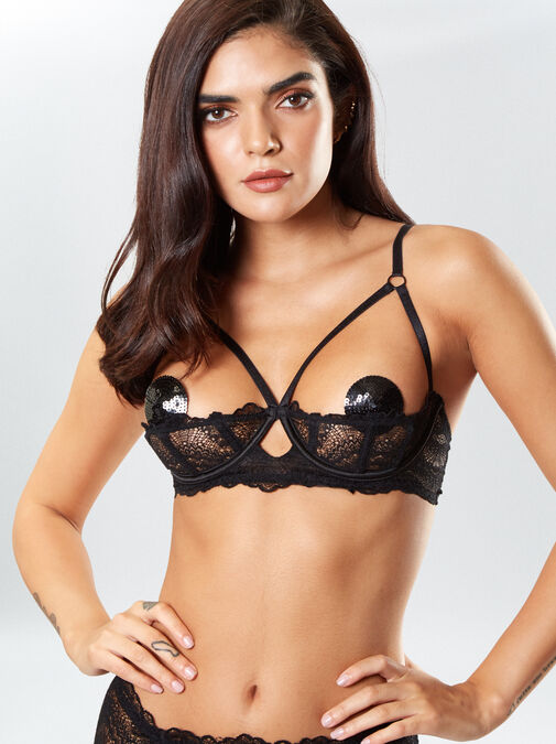 Kora Lace Bra and Crotchless Thong Set image number 2.0
