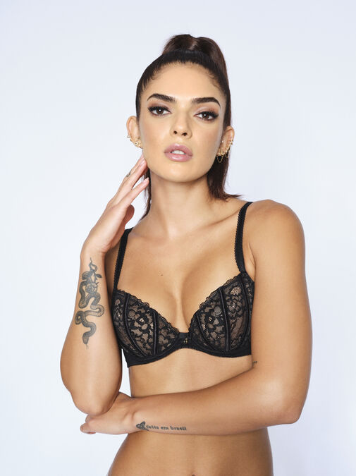 Sexy Lace Non Padded Plunge Bra image number 0.0