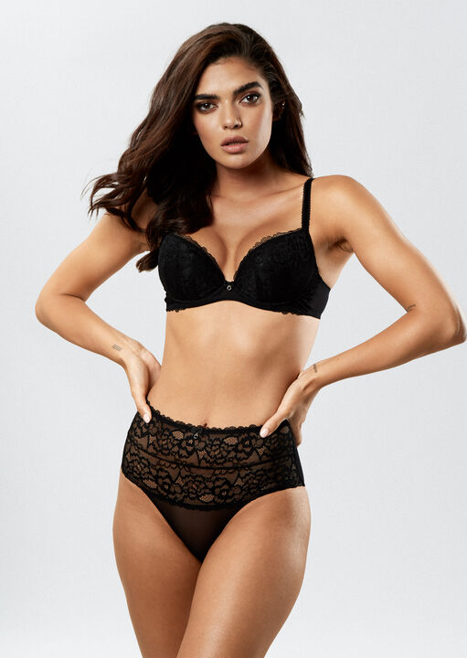 Sexy Lace Push Up Plunge Bra image number 3.0