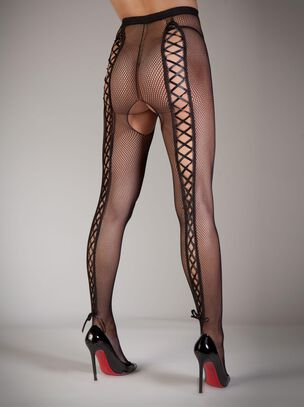 Lace-Up Back Fishnet Tights