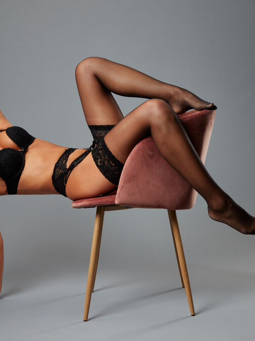 Lace Top Glossy Stockings image number 3.0