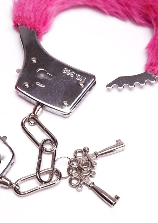 Hot Pink Faux Fur Handcuffs image number 2.0