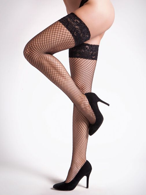 Lace Top Fishnet Hold Up image number 1.0