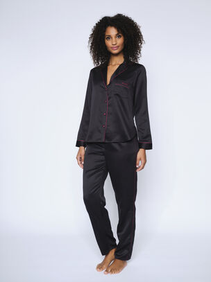 The Girl Boss Satin PJ Set Black