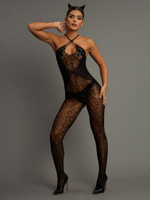 Black Widow Crotchless Bodystocking