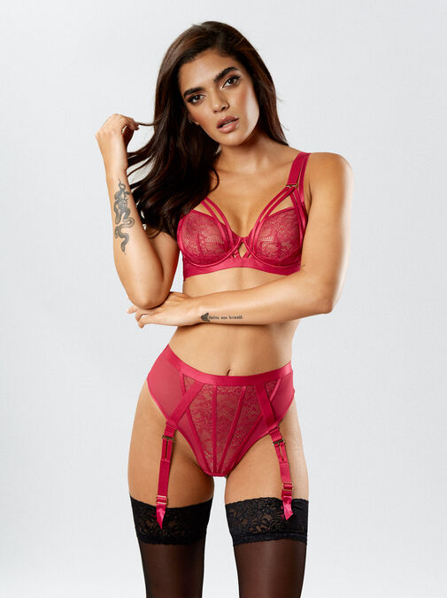The Lace Fantasy High Waisted Suspender Thong image number 2.0