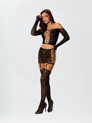 Dreamgirl Top & Skirt Suspender Set Black