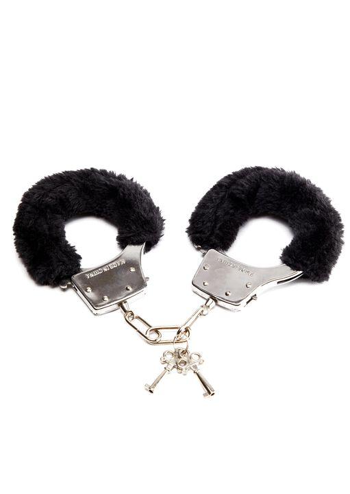 Black Faux Fur Handcuffs image number 2.0