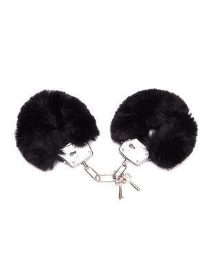 Plush Black Faux Fur Cuffs
